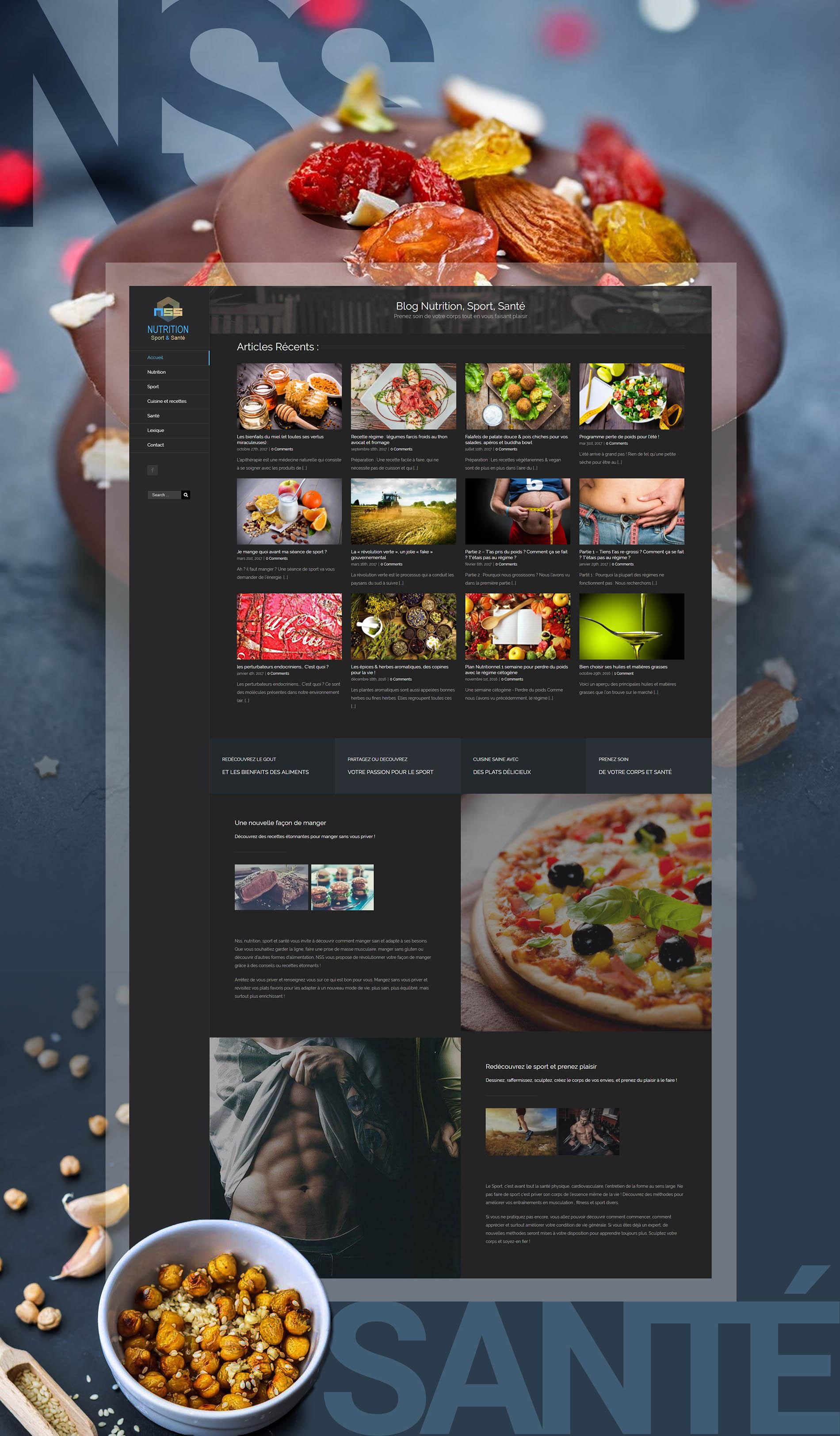 Maquette site Internet : NSS - Nutrition, sport & santé