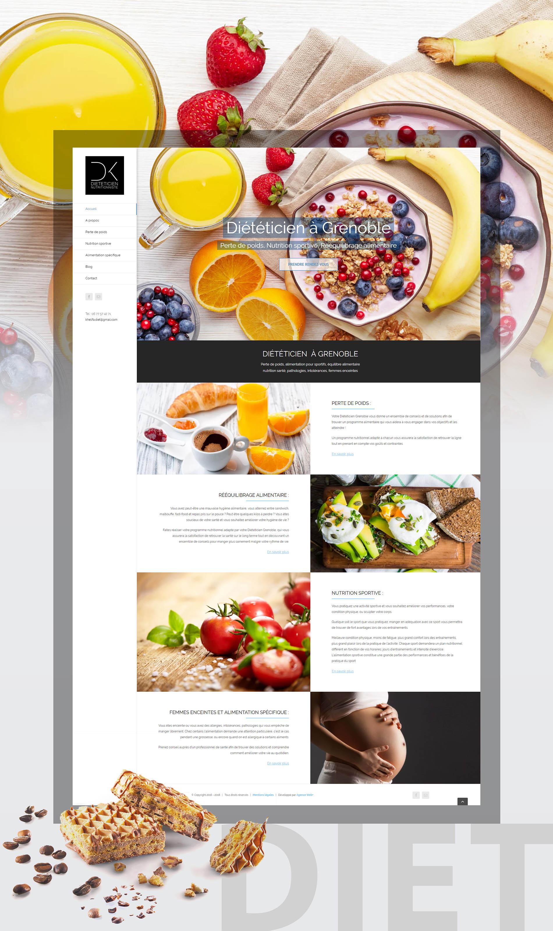Maquette site Internet : Diététicien Grenoble