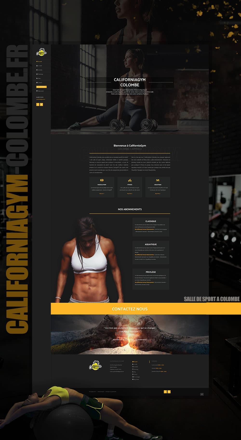 Maquette graphique pour le site Internet CaliforniaGym II