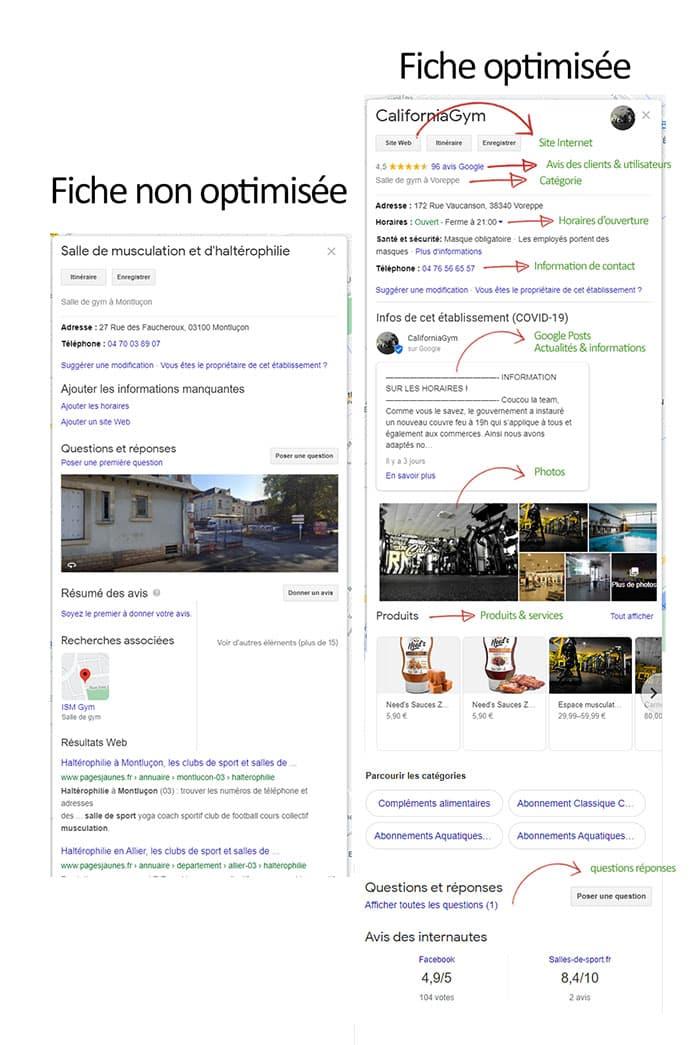 02 - différence fiche google my business optimisée ou non