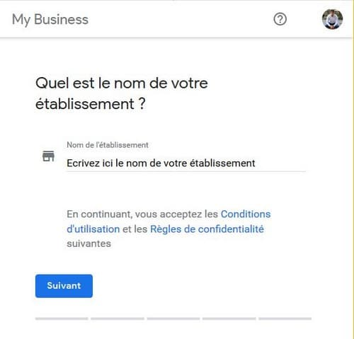 Nom établissement Google My Business