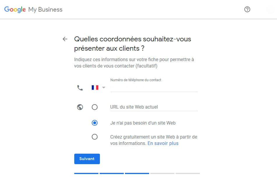 Informations Entreprise Google My Business